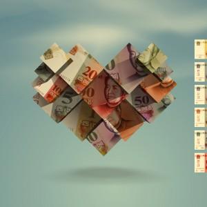 Heart. Yuan. Vector format